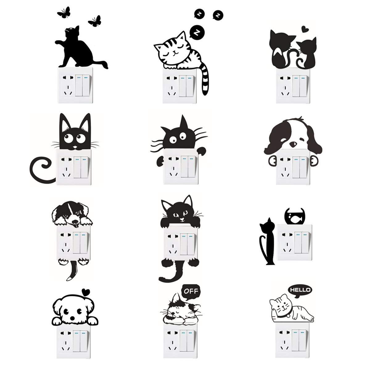 Etiquetas engomadas del interruptor de la pared, etiquetas engomadas del interruptor de la luz del perro del gato Etiquetas engomadas animales divertidas de la pared para la sala de estar del dormitorio negro 12 PC EQLEF