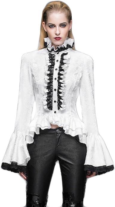 Devil Fashion - Camisas - con Botones - para Mujer: Amazon.es: Ropa y accesorios