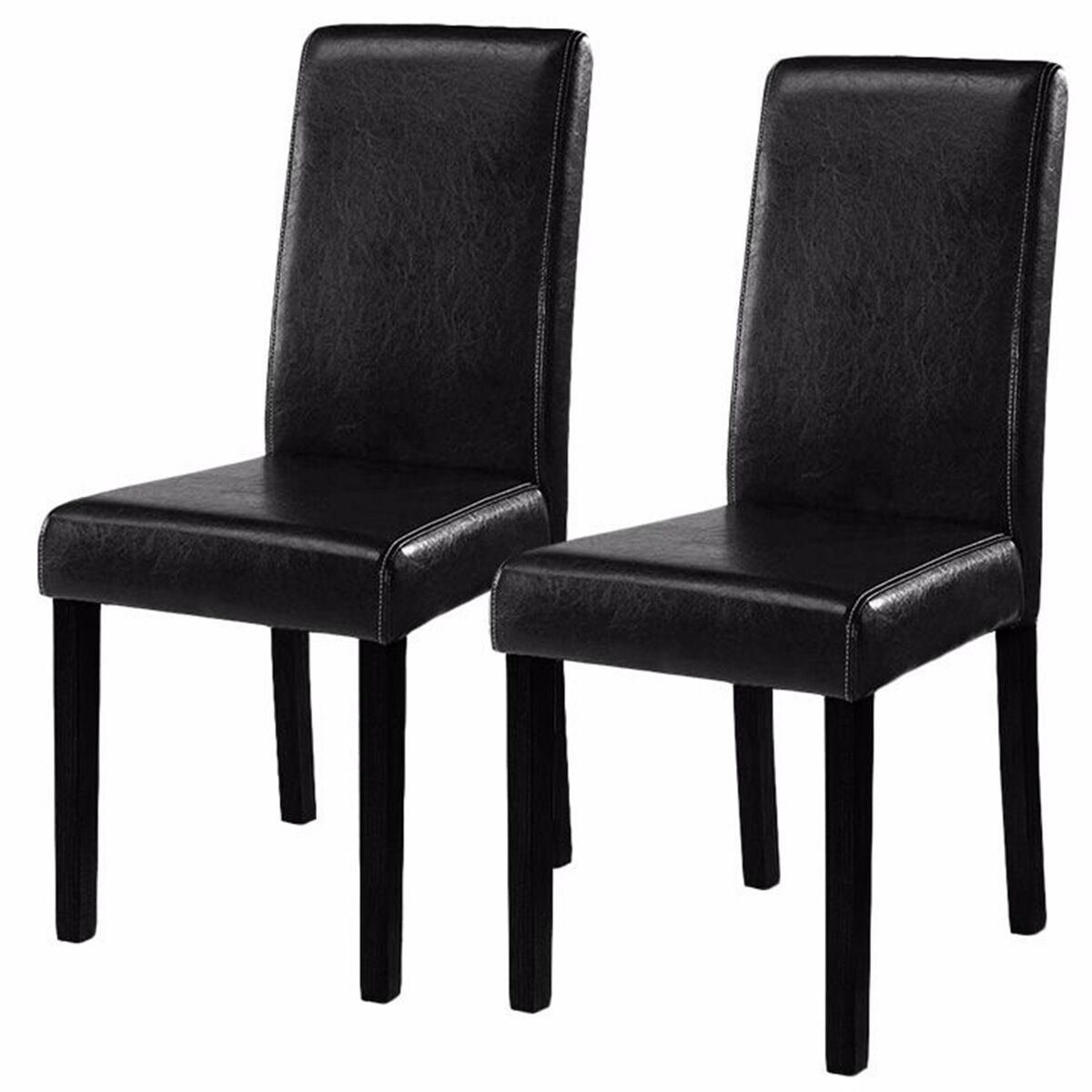 MasterPanel - Set of 2 Black Elegant Design Leather Contemporary Dining Chairs Home Room #TP3237
