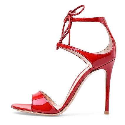 4881c12a9261a Amazon.com: FCXBQ Patent Leather Sandals, Stiletto Open Toe Sandals ...