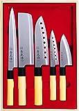 スミカマ (SUMIKAMA) 和包丁 秀元作 5点セット (刺身包丁・菜切包丁・穴明き三徳包丁・穴明きペティナイフ・小出刃包丁) SP-005