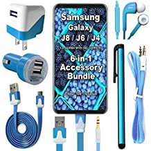 Celkits 6 Item Accessory Bundle for Samsung Galaxy J2 J4 J6 J8 Pro 2017 2018 Includes: Car Charger, Home Charger, USB Data Cable, Stereo Headset, Aux Cord & Stylus Pen (Blue Kit)