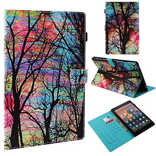 Deals Week Case for All-New Amazon Fire HD 10 Tablet (7th/5th Generation 2017/2015 Release) - Premium PU Leather Slim Fit Smart Stand Cover with Auto Wake/Sleep for Fire HD 10.1 Tablet (Color Tree)