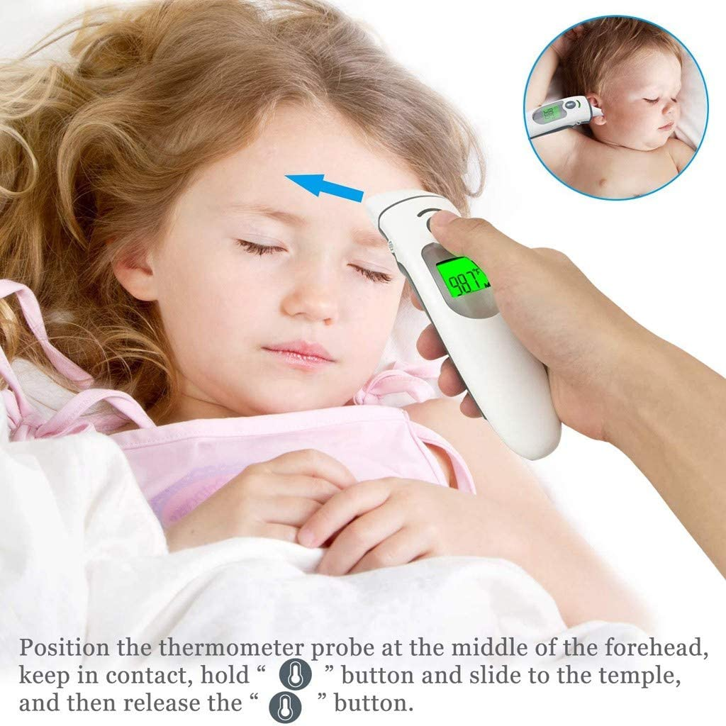 Non Contact Forehead ţh/êrm/õm/êt/êr with F/êv/êr Alarm for Adult kids infant Digital Medical Infrared ţh/êrm/õm/êt/êr with 32 Readings Memory Records Without Skin Contact for Home Baby adults idoit