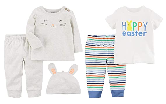 fbd828019 Carter's Baby Boys Easter Outfit - 5 pc Tops Pants and Bunny Ears Hat Set (
