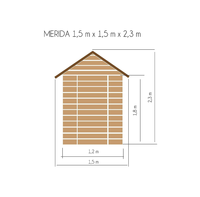 cadema Jardín Casa de madera 1, 5 m x 1, 5 m, (16 mm), Merida - Cobertizo: Amazon.es: Jardín