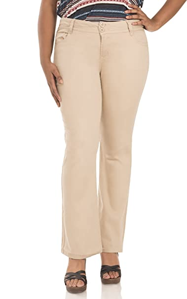 798a6f0d33 Amazon.com  WallFlower Plus Size Luscious Curvy Bootcut Chino Pants in Khaki  Size  14  Clothing