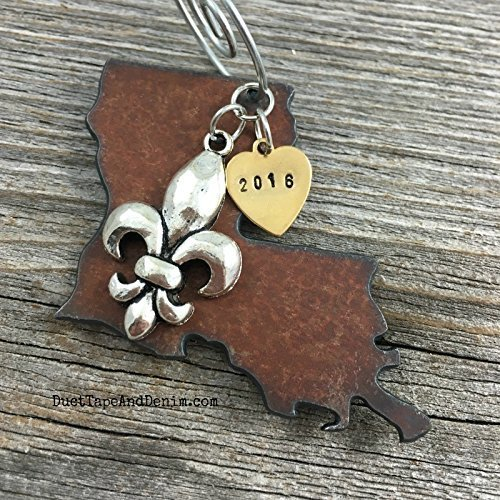 2017 Louisiana Christmas Ornament, Rustic Metal State with Hand Stamped Tag and Charm
