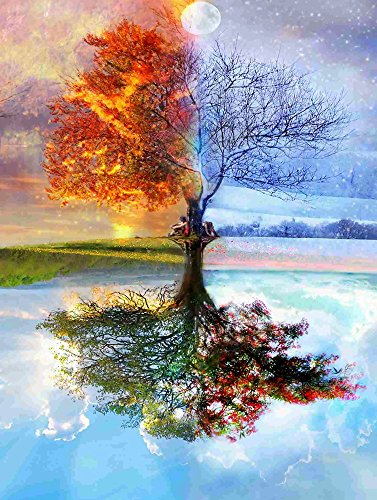 DIY 5D Diamond Painting by Number Kits, Full Round Drill Four Seasons Tree Embroidery Rhinestone Cross Stitch Arts Craft Canvas for Home Wall ()