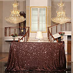 "PartyDelight Sequin Tablecloth, Sequin Table Overlay Square, 50""x50"", Brown"