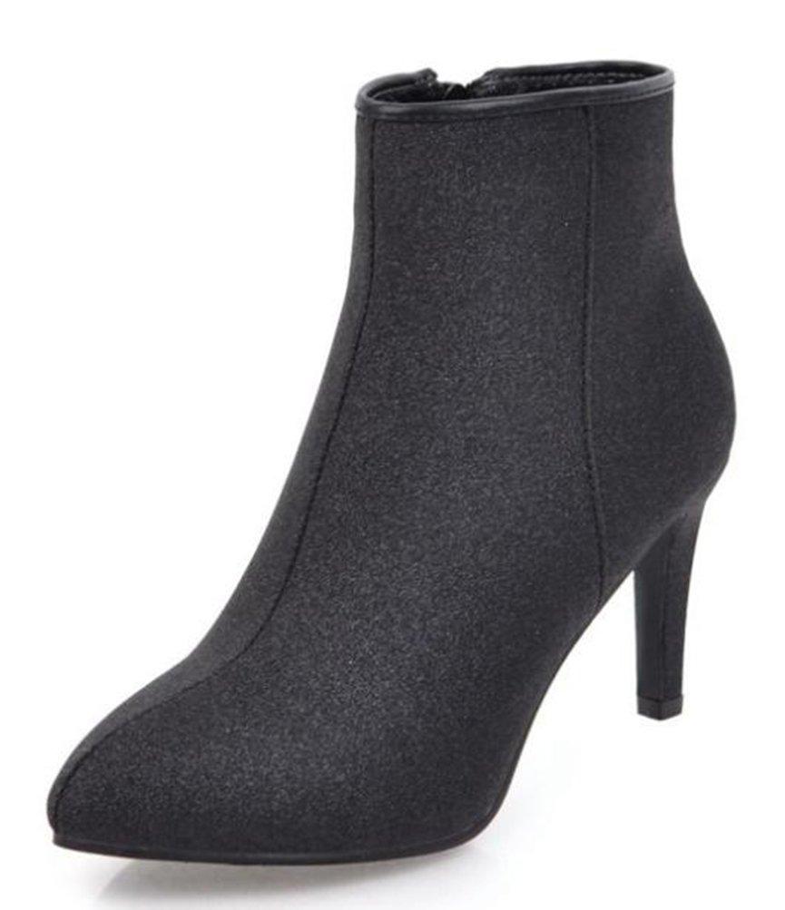 Easemax Damen Modisch Sexy Spitze Zehe Pailletten Ankle Boots Stiefel Mit Absatz Schwarz