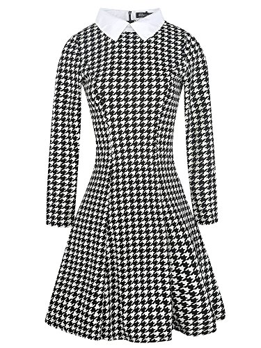 Collar Dress Suit - oxiuly Women's Long Sleeve Turn Down Collar Black Houndstooth Casual A-Line Dress OX272 (M, Black Houndstooth)