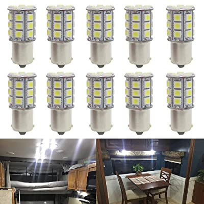 JAVR - Pack of 10-6500K White 1156 BA15S 1141 1003 1073 7506 LED Bulbs 5050 27-SMD Replacement Lamps for 12V Interior RV Camper Trailer Lighting Boat Yard Light Brake Tail Bulbs: Automotive
