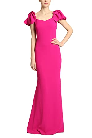 e84a6ff65d7d Amazon.com: Badgley Mischka Mermaid Sheath Gown with Princess Neckline,  Ruffle Cap Sleeves, Magenta Pink: Clothing