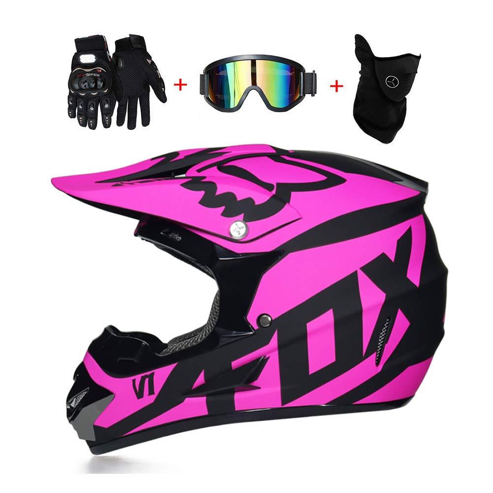 LEENY Adulto Motocross Cascos de Motos con Gafas Guantes Máscara, Cascos de Cross Motocicleta DH Off-Road Enduro ATV Quad MTB BMX Cascos Integrales para ...