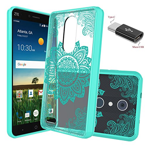 ZTE Blade X Max Case,ZTE Z983 Case With Micro USB to Type c Adapter, Wtiaw [Scratch Resistant] Acrylic Hard Cover With Rubber TPU Bumper Hybrid Ultra Slim Protective For ZTE - Lens Protector Sunglass