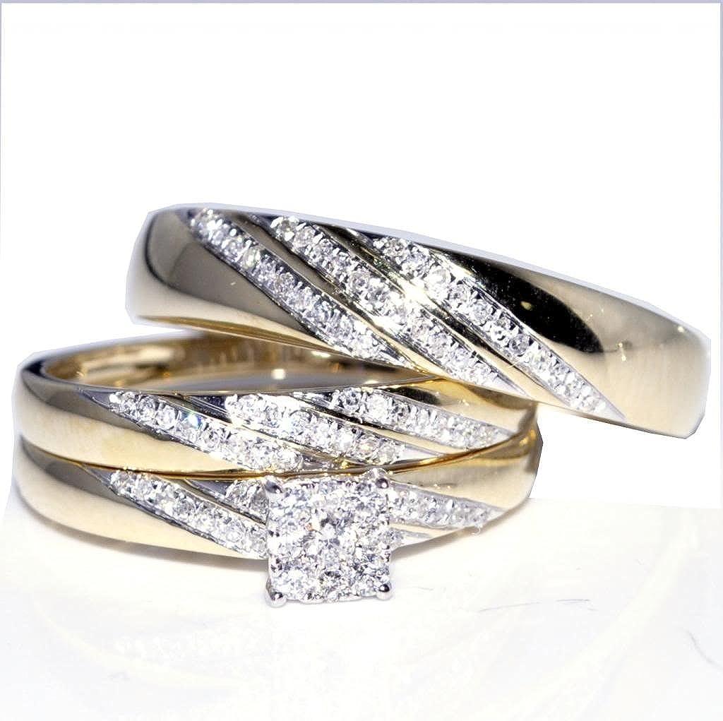Juego de anillos de boda para él y para ella, 1/3 quilates ...