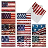 M3013 Flag Day: 10 Assorted Thank You Note Cards Feature a Stars and Stripes Motif, w/White Envelopes.