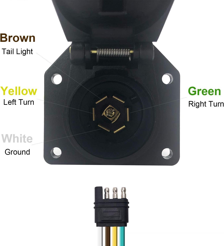 4 Flat Truck to 7 Way Round Trailer Light Adapter Reverse Plug ...