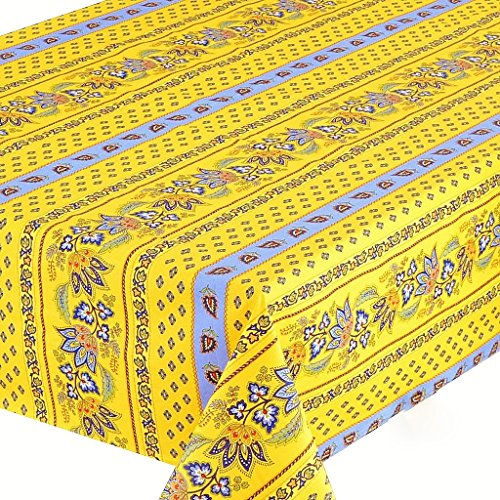 Le Cluny, Lisa Yellow and French Blue, French Provence 100 Percent COATED Cotton Tablecloth, 60 Inches x 120 Inches