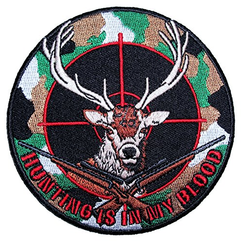 (Leather Supreme Camoflauge Deer, Hunting is in My Blood Embroidered Patch)