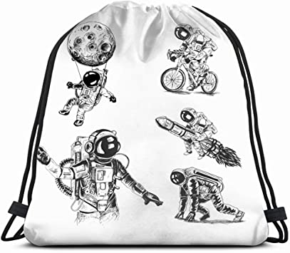 Drawstring Backpack Space Astronaut Gym Bag