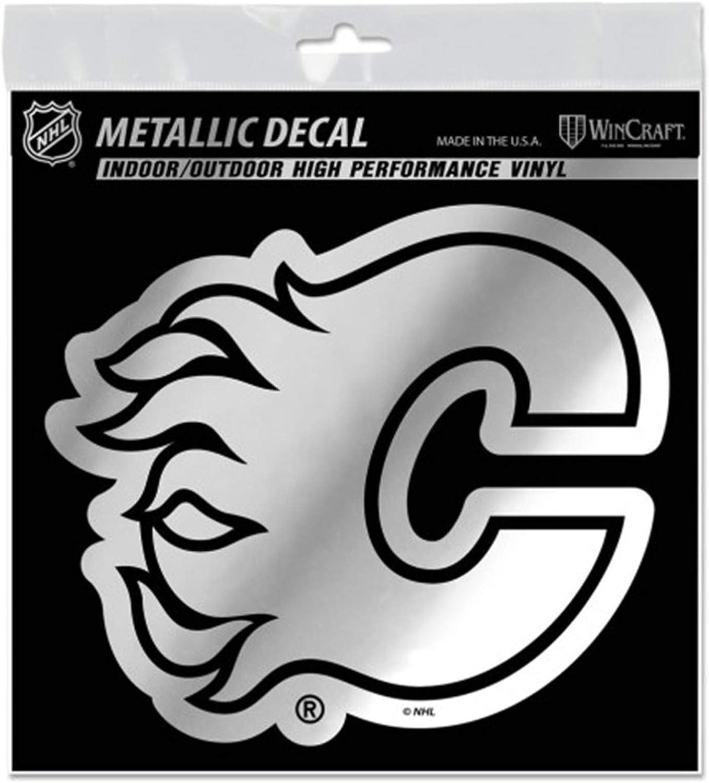 Amazon Com Wincraft Calgary Flames 6 Silver Metallic Style Decal Die Cut Sticker Vinyl Auto Hockey Sports Outdoors