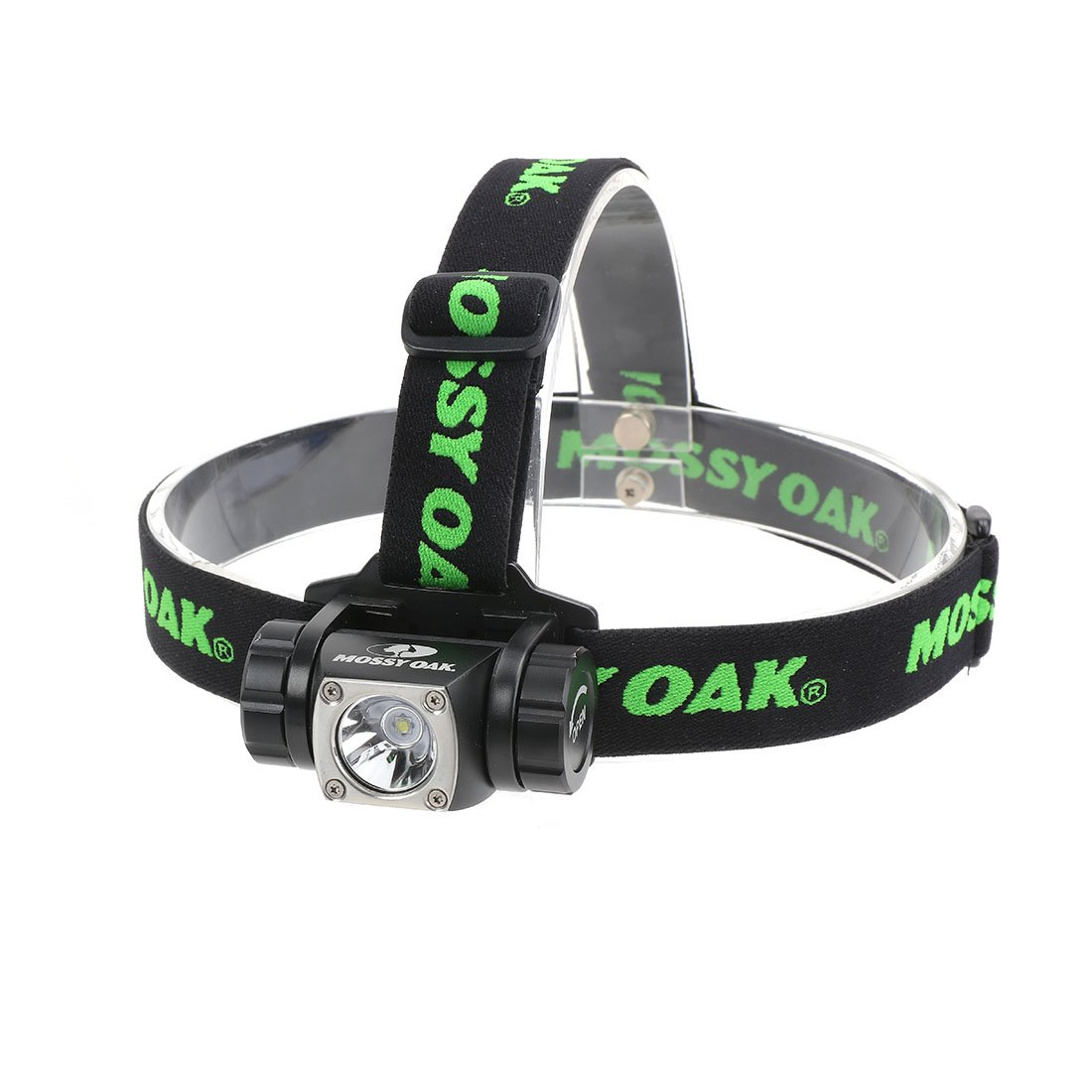 Mossy Oak LED Headlamp Flashlight Waterproof IP X8, 6 Modes Light Switch, 3 AAA Batteries Included