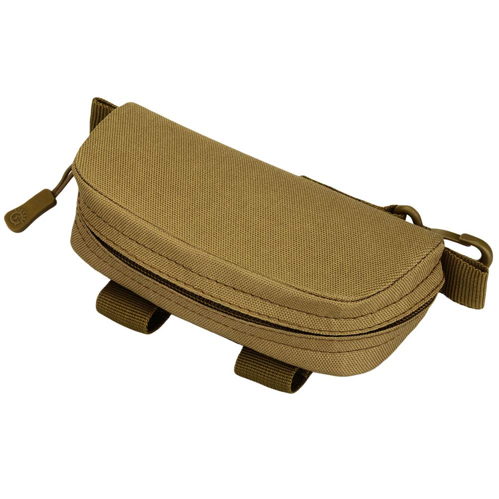 Efanr Eyeglasses Case MOLLE Modular Hardshell Sunglasses Case Tactical Zipper Eyeglass Holder Stand with Clip