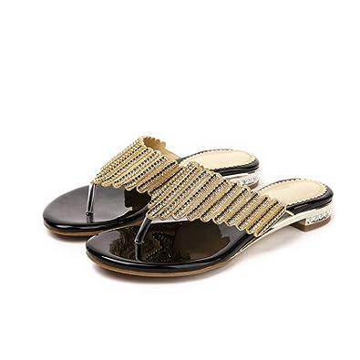 f64cf01750c2 JORCOKA Women s Slippers Rhineston Beach Flip Flops Sweet Heels Summer Wedge  Shoes Black