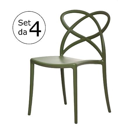 Sedie Polipropilene Design.Arredinitaly Set 4 Sedie Design Impilabili In Polipropilene Di Qualita Certificata Catas Verde Salvia