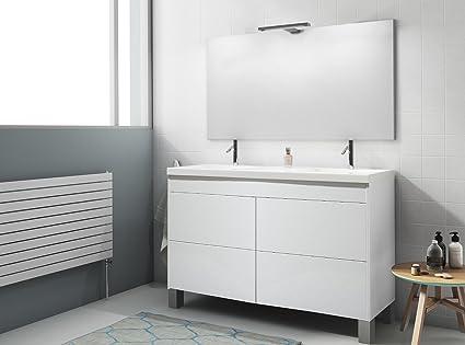 Modulintel - Conjunto De Baño 120 Push Blanco/Blanco - Mueble 120 Cm ...