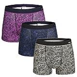 YVWTUC Men's Organic Cotton Underwear 3 Pack Cozy Breathable Boxer Briefs Purple/Blue/Gray M