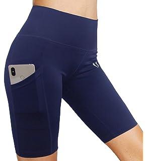FIRM ABS - Pantalones Cortos de Yoga para Mujer de Cintura Alta con  Bolsillos d5fa94987ed8