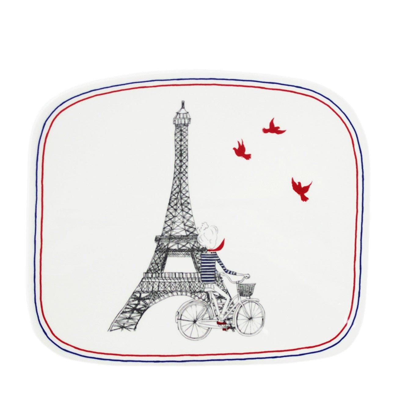 Gien France Ca C EstParis Placa cuadrada orgánica - Pequeño 7 5/16