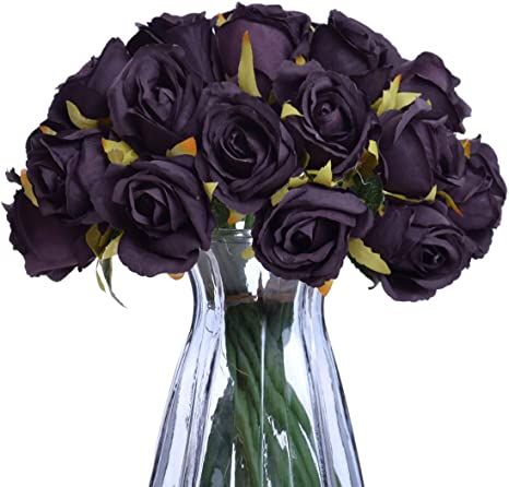 Amazon Com Nyrzt Artificial Flowers 24 Heads Silk Roses Bridal Wedding Bouquet Fake Flower Arrangements For Home Festival Birthday Party Decor Black Kitchen Dining