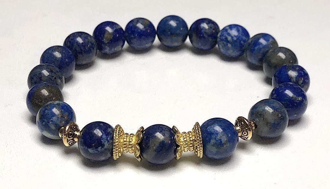 Fifth chakra Throat Chakra Yoga Jewelry wrist mala US Seller Energized chakra bracelet Big 10 mm unisex stretch bracelet w//zinc alloy gold plated spacers Stunning lapis lazuli bracelet