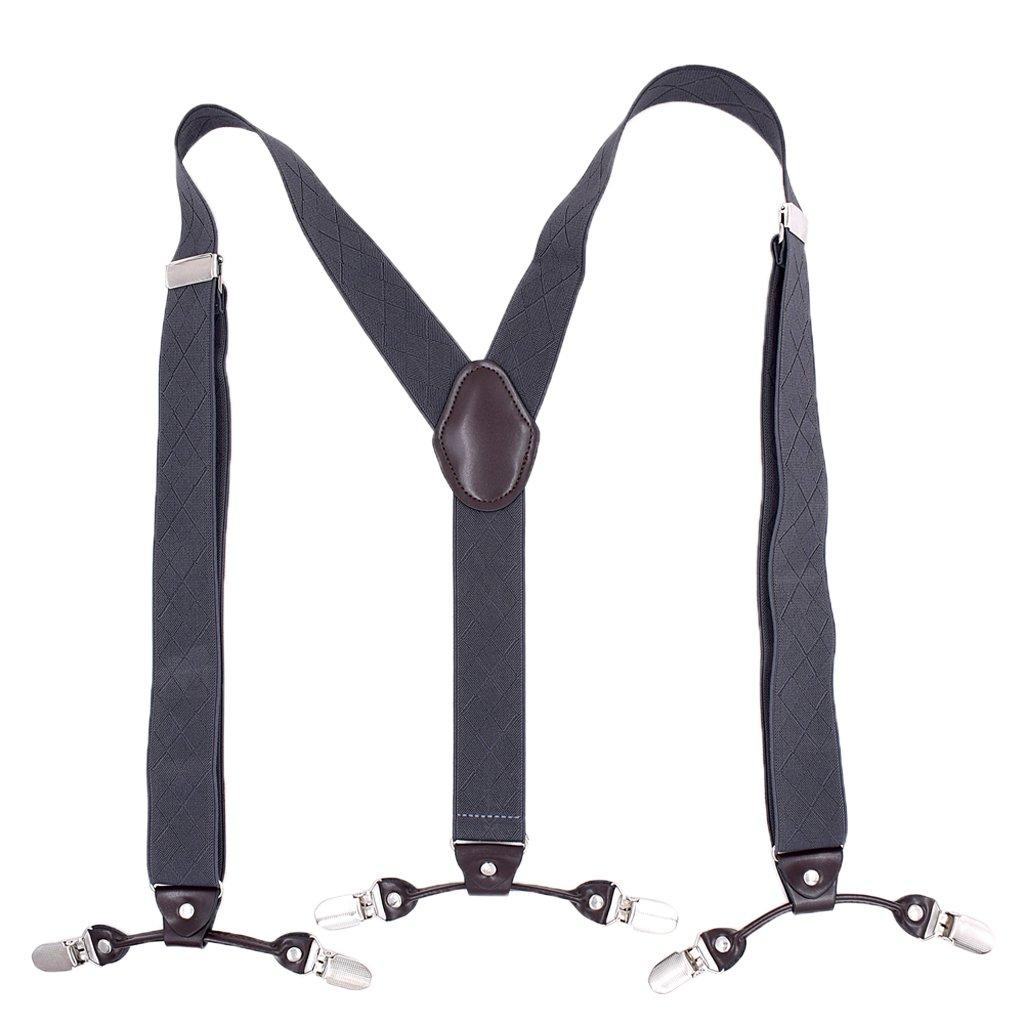 Homyl Mens Suspenders for Work 6 Clips Y-back for Pants Jeans Suits 3.5cm Width - Black, as described