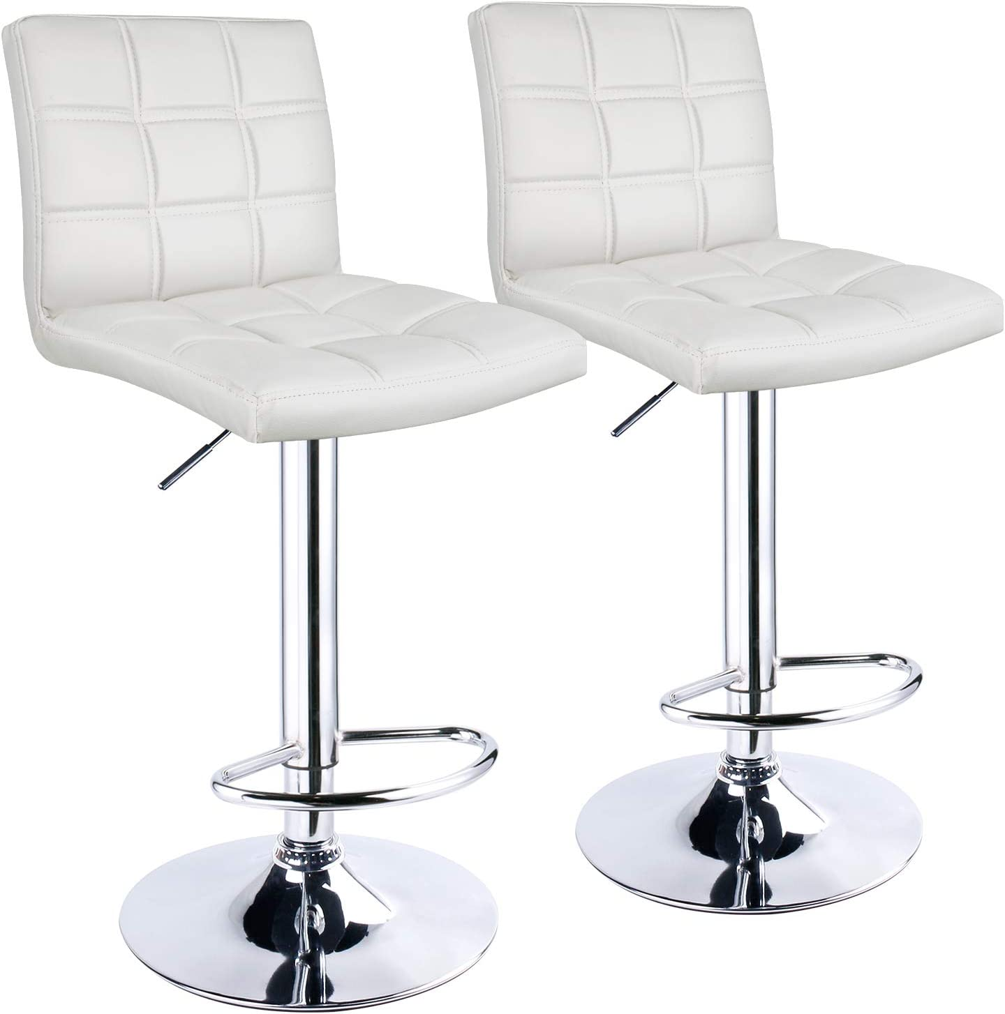 Leatherette Exterior,Double Needle Sewing,Height Adjustable,Chrome Footrest and Base,Bar Chairs for Kitchens,Counter and Home Leader Accessories Modern Bar Stools Set of 2 Red