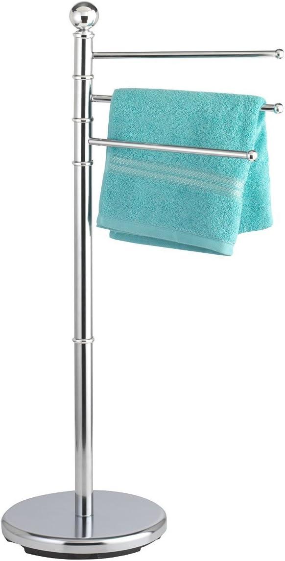 Krollmann Handtuchständer freistehend 3 armig Metall Handtuchhalter 3 Stangen schwenkbar runder Standfuß in Silber