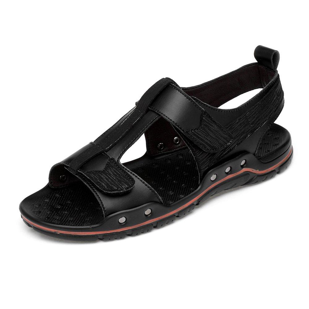 Sunny&Baby Sandalias de Playa de Cuero Genuino para Hombres, Suela de Doble Correa de Gancho y Lazo, Zapatos al Aire Libre Resistente a la Abrasión 42 EU Negro