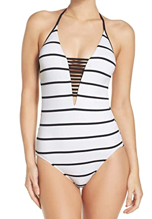c227810eb0ce5 Seafolly Women s Castaway Stripe Deep V Maillot One-Piece White Swimsuit at  Amazon Women s Clothing store