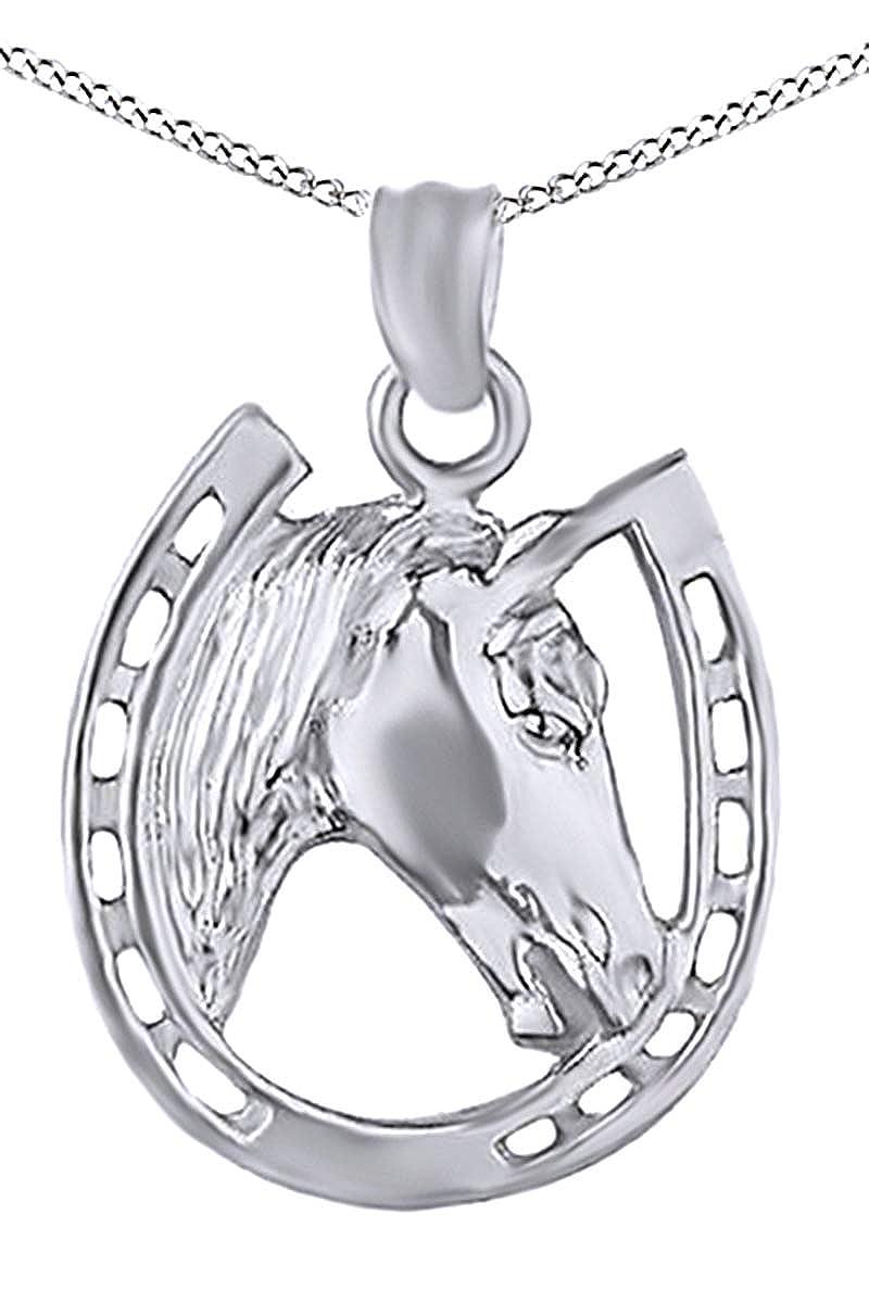 Amazon.com: 14 K chapada en oro caballo Rostro y Herradura ...