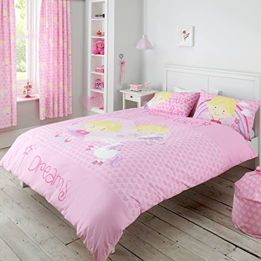Fairy Tale Dreams Pink Heart Princess Double Duvet Quilt Cover ... : fairy quilt cover - Adamdwight.com