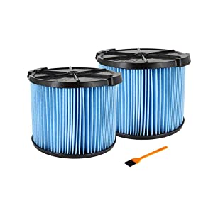 VideoPUP 2Packs Replacement VF3500 3-Layer Wet Dry Vacuum Dust Filter Vacuum Cleaner Filter Cartridge Compatible with Ridgid 3-4.5 Gallon Vacuums Filter with 1PCS Small Brush for Free