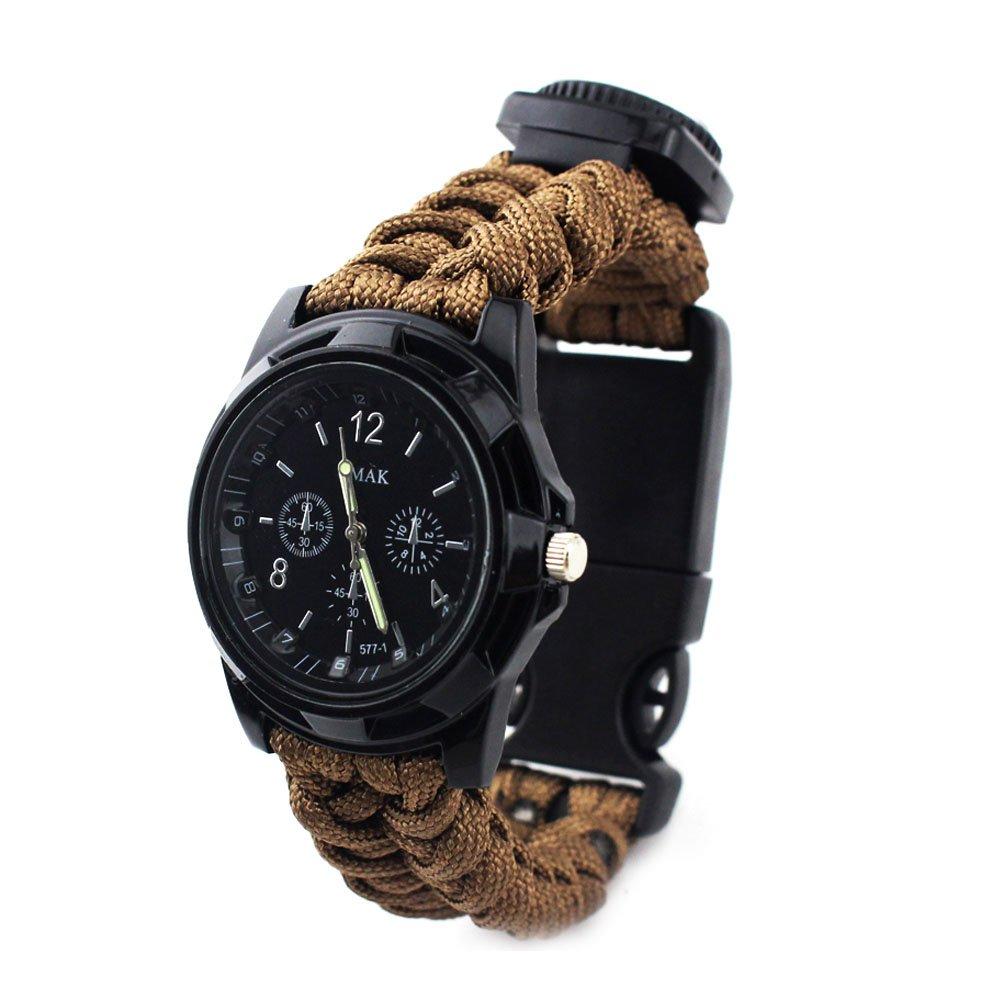 ibreathtech便利パラコードWrappedサバイバル時計、デジタル時計+パラコード+ホイッスル+コンパス+温度計+ Fire Starter +ブレード、7 in 1 Paracord Watch B074J46TWY  グレー