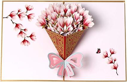 Carte De Vœux 3d En Forme De Bouquet De Fleurs Carte D Anniversaire De Remerciement Fete Des Meres Cartes De Noel Amazon Fr Fournitures De Bureau