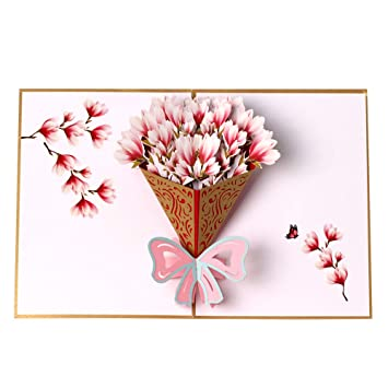 Amazon.com: Tarjeta de felicitación 3D con diseño de ramo de ...