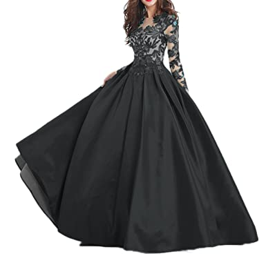 Beilite Vintage Long Sleeves Prom Dresses A Line Appliques Evening Gowns Black 2