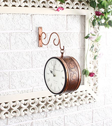 Unravel IndiaBrass Plated Double Side Copper Vintage Station Clock